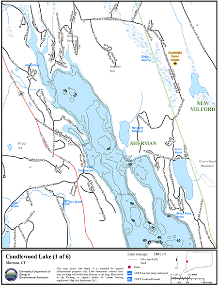Candlewood lake map northeastbass for Bass fishing in ct