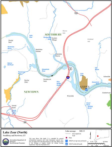 Lake Zoar North Map
