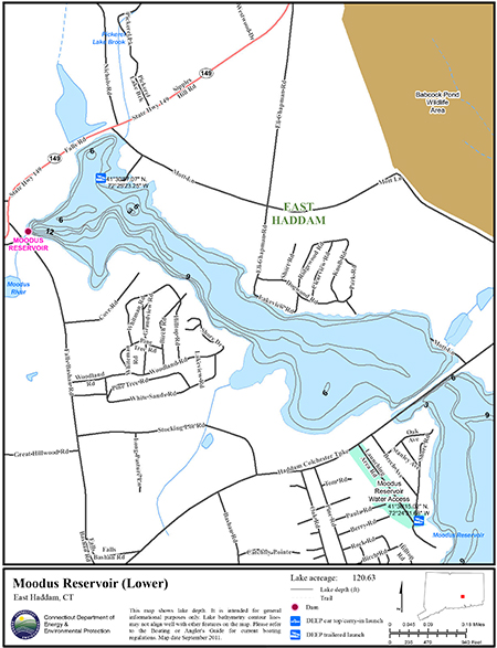Moodus reservoir lower map northeastbass for Bass fishing in ct