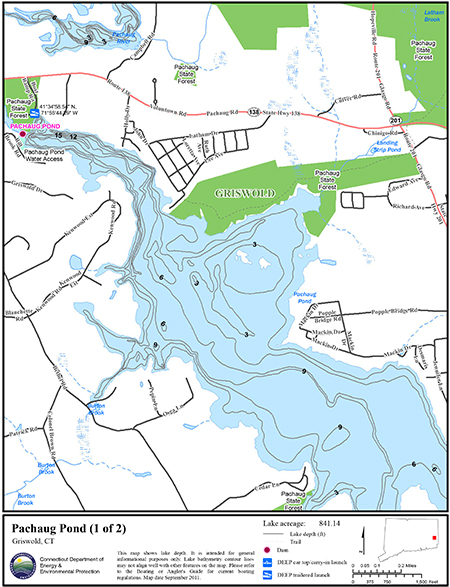 Pachaug pond map northeastbass for Bass fishing in ct