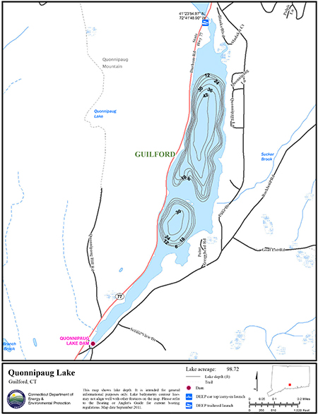 Quonnipaug lake map northeastbass for Bass fishing in ct