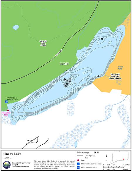 Uncas Lake Map