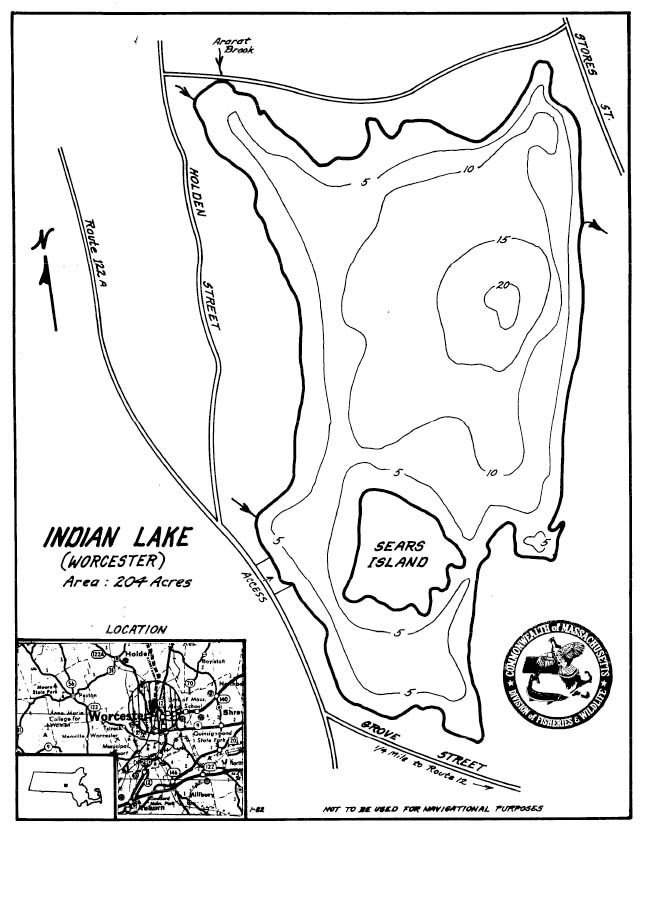 Indian Lake Map Worcester Ma