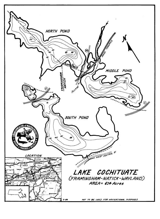 Lake Cochituate Map Framingham Natick Wayland Ma