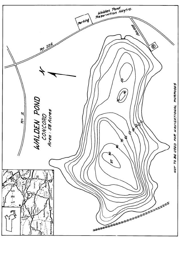 Walden Pond Lake Map Concord Ma