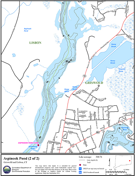 Aspinook Pond Map