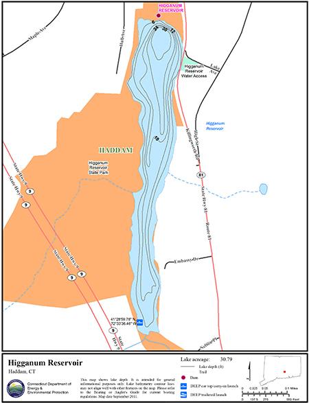 Higganum Reservoir Map