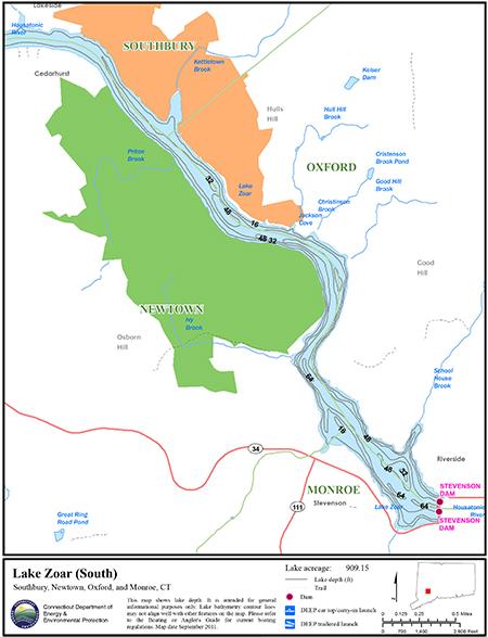 Lake Zoar South Map