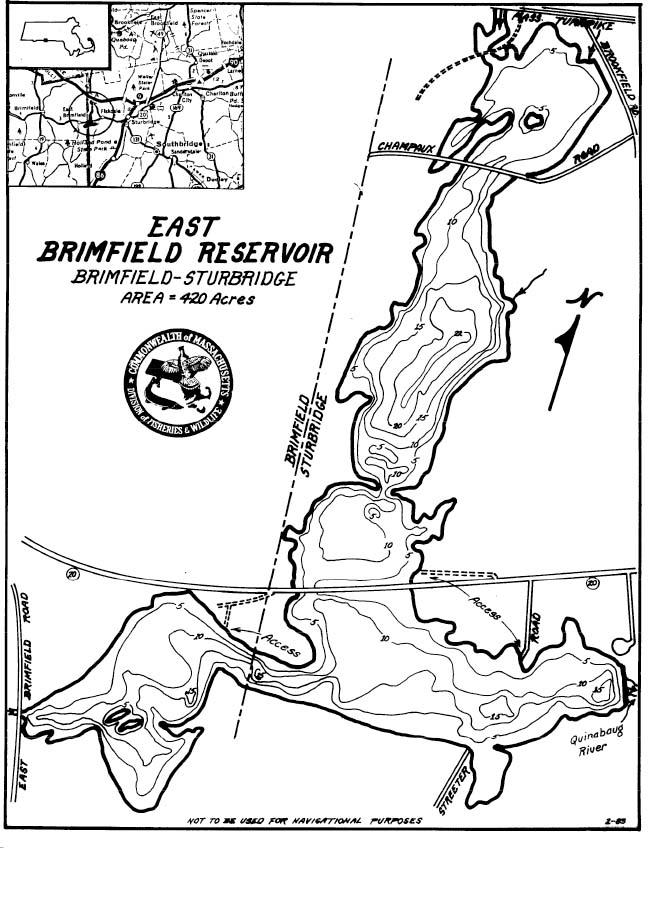 East Brimfield Reservoir Map